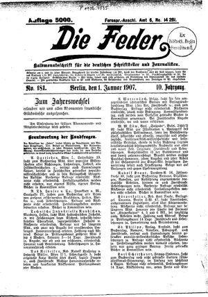 ˜Dieœ Feder vom 01.01.1907