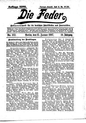 ˜Dieœ Feder vom 15.01.1907