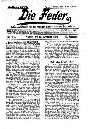 ˜Dieœ Feder vom 15.02.1907