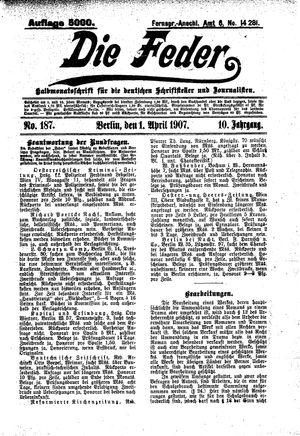 ˜Dieœ Feder vom 01.04.1907
