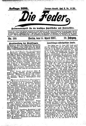 ˜Dieœ Feder vom 15.04.1907