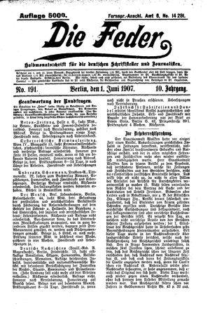 ˜Dieœ Feder vom 01.06.1907