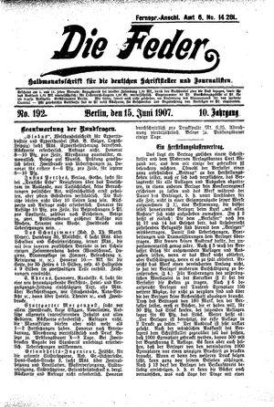 ˜Dieœ Feder vom 15.06.1907