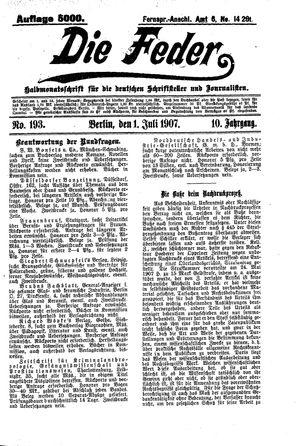 ˜Dieœ Feder vom 01.07.1907