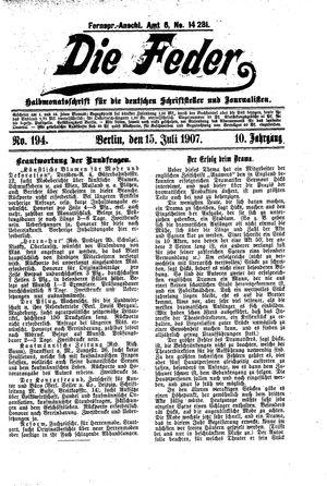 ˜Dieœ Feder vom 15.07.1907