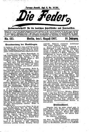 ˜Dieœ Feder vom 01.08.1907