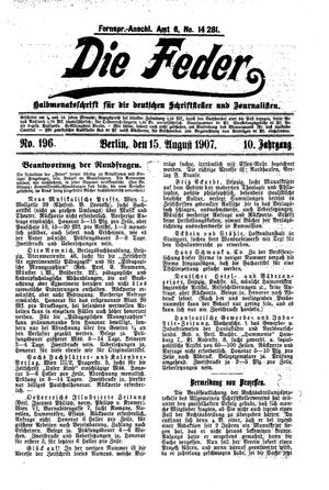 ˜Dieœ Feder vom 15.08.1907