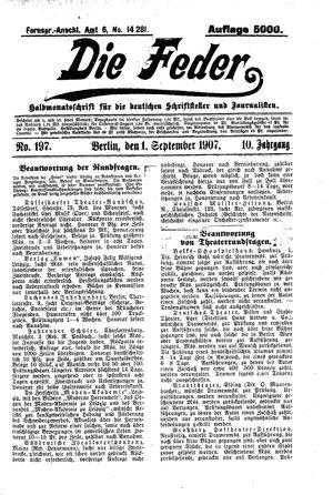 ˜Dieœ Feder vom 01.09.1907