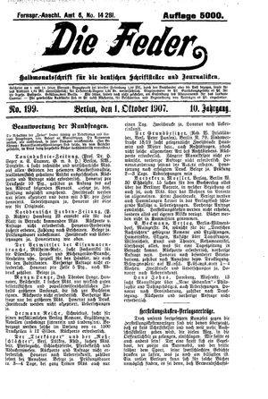 ˜Dieœ Feder vom 01.10.1907