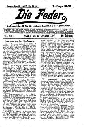 ˜Dieœ Feder vom 15.10.1907