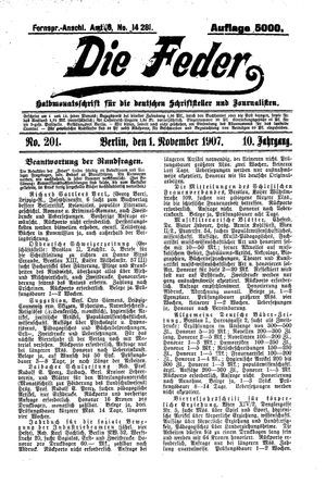 ˜Dieœ Feder vom 01.11.1907