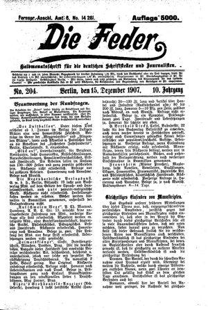 ˜Dieœ Feder vom 15.12.1907