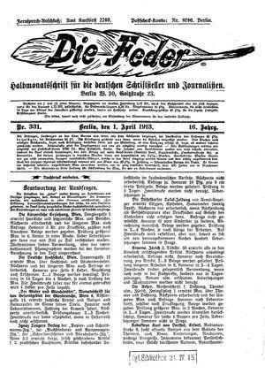 ˜Dieœ Feder vom 01.04.1913