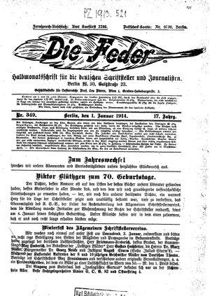 ˜Dieœ Feder vom 01.01.1914
