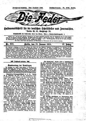 ˜Dieœ Feder vom 15.01.1914