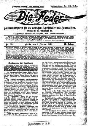 ˜Dieœ Feder vom 01.02.1914