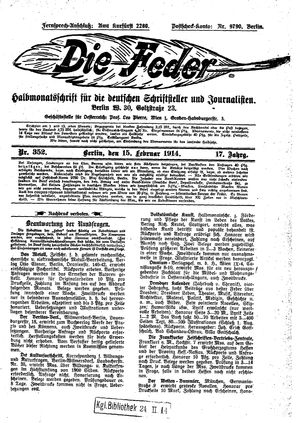 ˜Dieœ Feder vom 15.02.1914