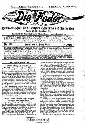 ˜Dieœ Feder vom 01.03.1914