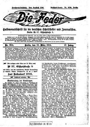 ˜Dieœ Feder vom 15.03.1914