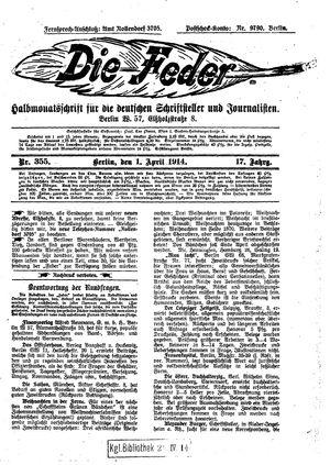 ˜Dieœ Feder vom 01.04.1914