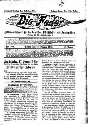 ˜Dieœ Feder vom 15.01.1915