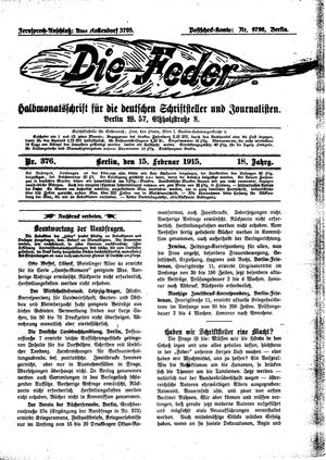 ˜Dieœ Feder vom 15.02.1915