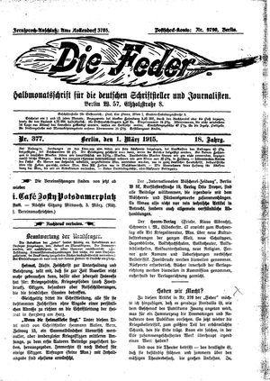 ˜Dieœ Feder on Mar 1, 1915
