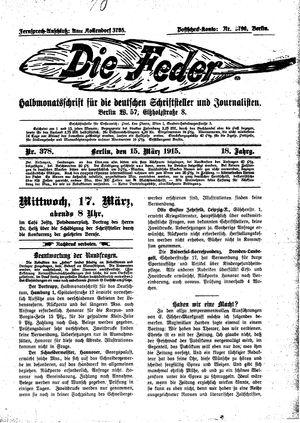 ˜Dieœ Feder vom 15.03.1915