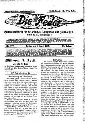 ˜Dieœ Feder vom 01.04.1915