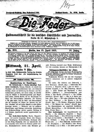 ˜Dieœ Feder vom 15.04.1915