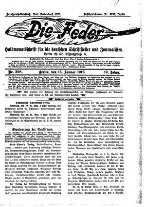 ˜Dieœ Feder vom 15.01.1916
