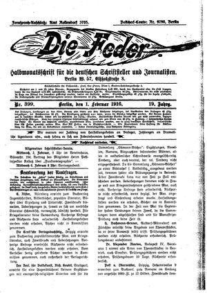 ˜Dieœ Feder vom 01.02.1916