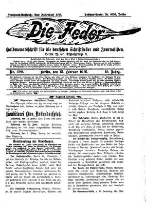 ˜Dieœ Feder on Feb 15, 1916