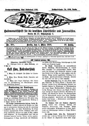 ˜Dieœ Feder vom 01.03.1916