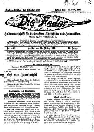 ˜Dieœ Feder vom 15.03.1916