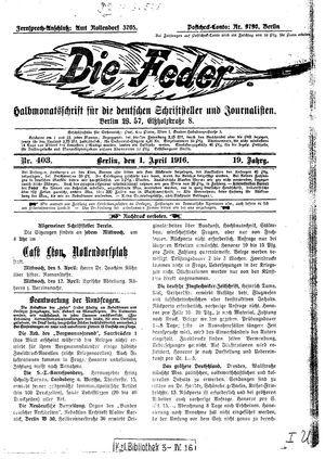 ˜Dieœ Feder vom 01.04.1916