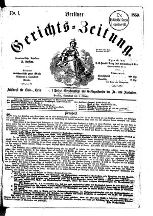 Berliner Gerichts-Zeitung vom 01.10.1853
