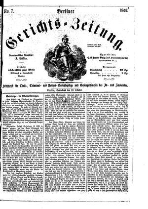Berliner Gerichts-Zeitung vom 22.10.1853