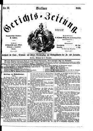 Berliner Gerichts-Zeitung vom 02.11.1853