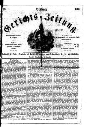 Berliner Gerichts-Zeitung vom 05.11.1853