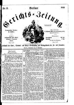 Berliner Gerichts-Zeitung vom 12.11.1853