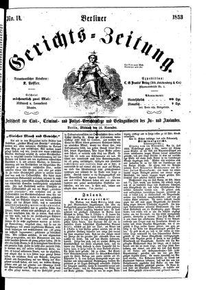 Berliner Gerichts-Zeitung vom 16.11.1853