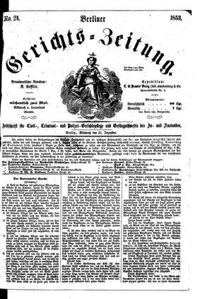 Berliner Gerichts-Zeitung vom 21.12.1853