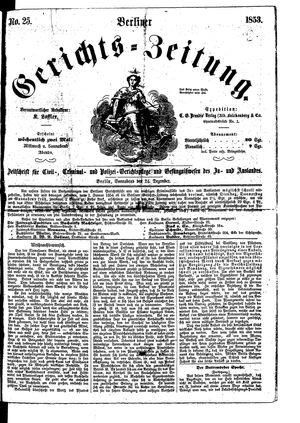 Berliner Gerichts-Zeitung vom 24.12.1853