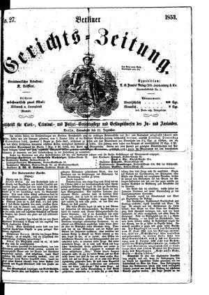 Berliner Gerichts-Zeitung vom 31.12.1853