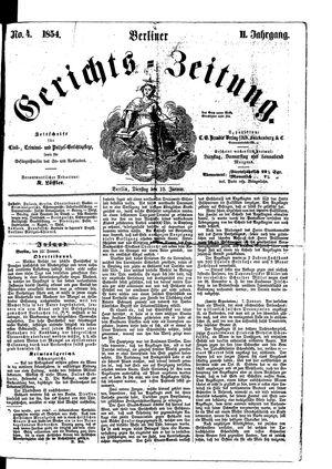 Berliner Gerichts-Zeitung vom 10.01.1854