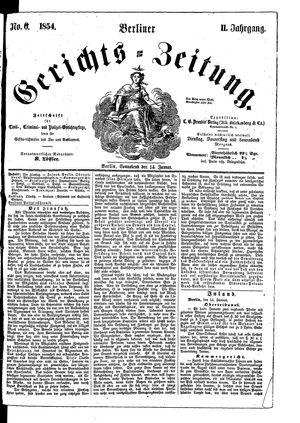 Berliner Gerichts-Zeitung vom 14.01.1854