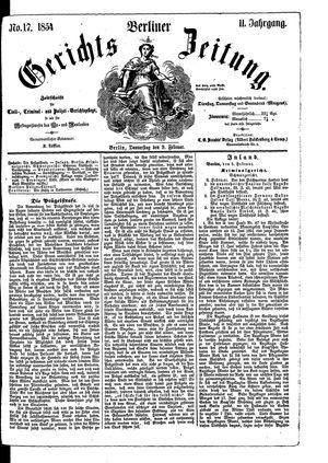 Berliner Gerichts-Zeitung vom 09.02.1854