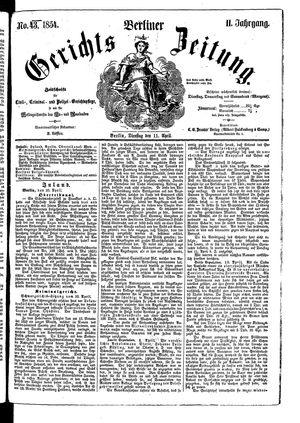 Berliner Gerichts-Zeitung vom 11.04.1854