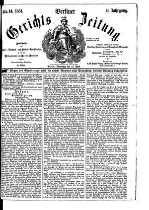 Berliner Gerichts-Zeitung vom 13.04.1854